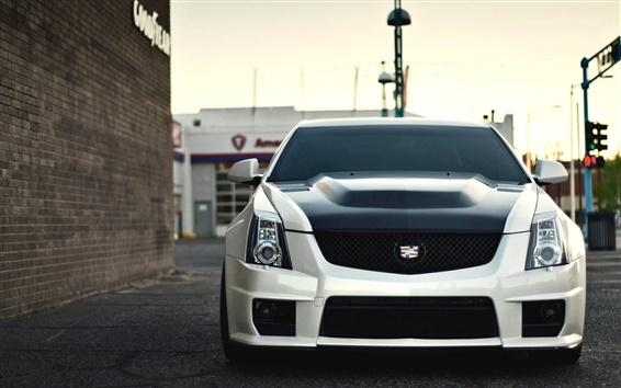 Wallpaper Cadillac CTS-V white car front view