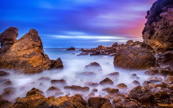Wallpaper California, USA, beach, rocks, sunrise, ocean, dawn
