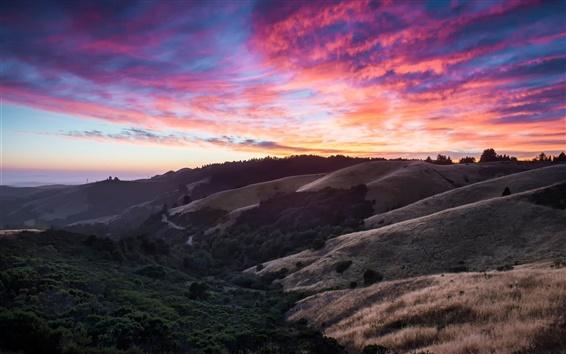 Fondos de pantalla California, EE.UU., colinas, cielo, nubes, puesta del sol