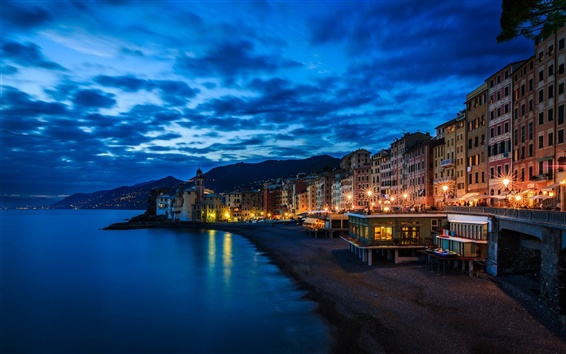 Wallpaper Camogli, Italy, Liguria, house, lights, night, coast, sea