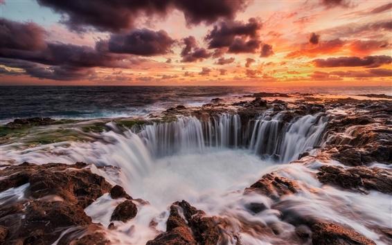 Обои Канарские острова, Испания, море, закат, водопады, красное небо