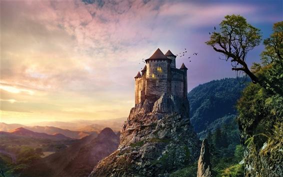 Fond d'écran Château, roches, coucher de soleil, les montagnes, les arbres, les oiseaux, au crépuscule