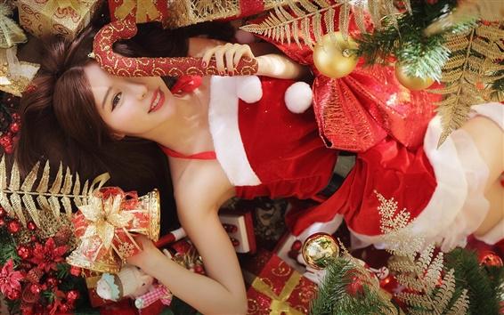 Wallpaper Christmas girl, red dress, long hair