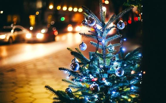 Обои Рождественская елка, Новый год, шары, светильники