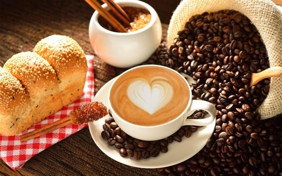 Fond d'écran Coupe, café, coeur d'amour, le lait, le cacao