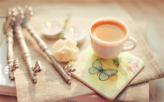 Wallpaper Cup of coffee, keys, book