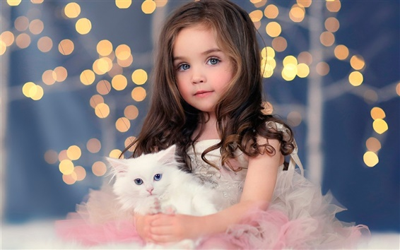 Wallpaper Cute girl, white kitten, lights, bokeh