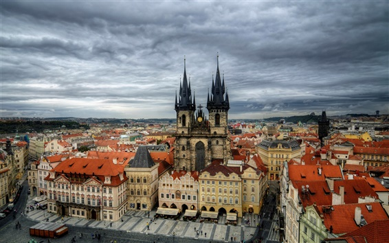 Wallpaper Czech Republic, Prague, city, houses, buildings, clouds, dusk