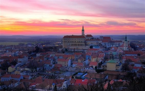 Wallpaper Czech Republic, city, evening, sunset, houses