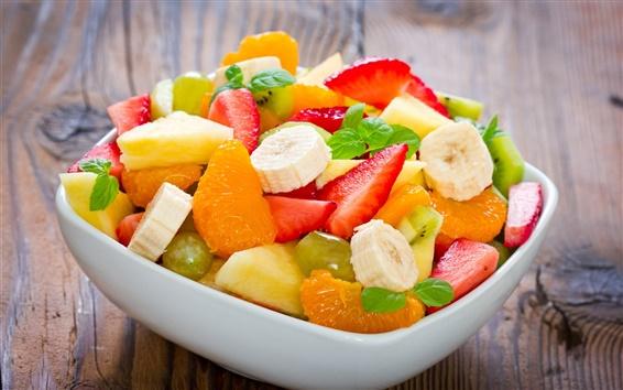 배경 화면 디저트, 과일 샐러드, 바나나, 귤, 딸기, 파인애플, 민트 잎