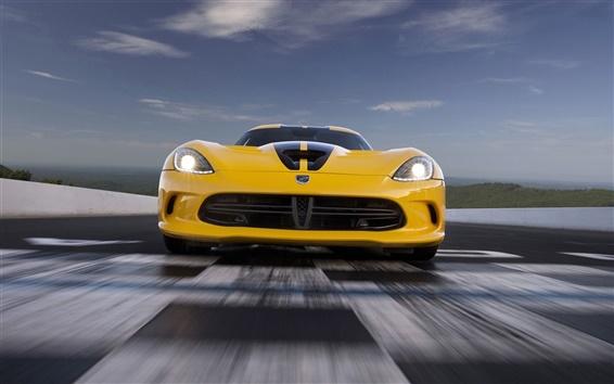 Обои Dodge Viper SRT-желтый суперкар, вид спереди