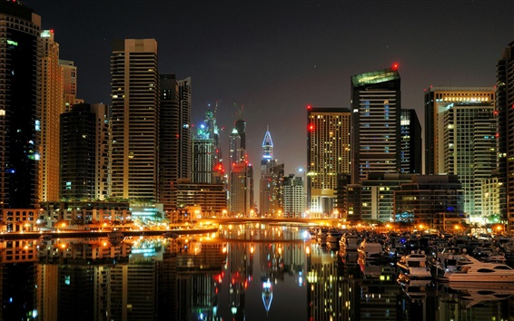 Wallpaper Dubai, city, night, port, boats, yachts, lights, buildings