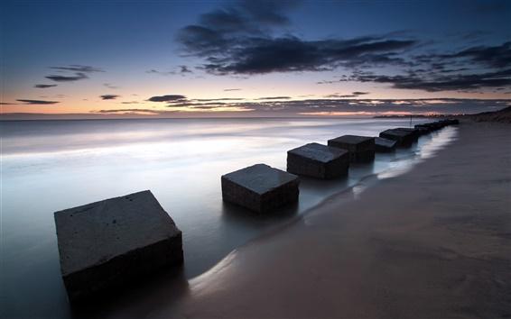 Fondos de pantalla Inglaterra, Blyth, mar, losas, atardecer