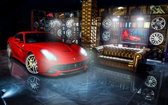 Wallpaper Ferrari F12 red supercar, wheels, indoor