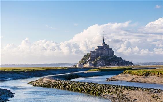 Fond d'écran France, Normandie, château, ciel, nuages, la mer