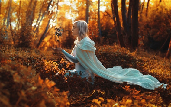 Wallpaper Girl in the forest, white hair, magic