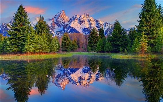 Papéis de Parede Grand Teton National Park, Wyoming, EUA, árvores, montanhas, lago