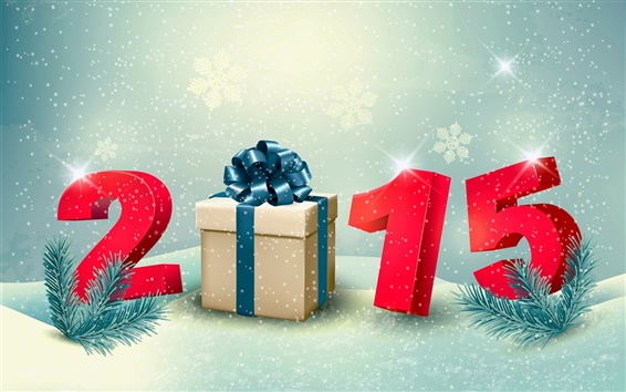 Wallpaper Happy New Year 2015, gift, snow, winter