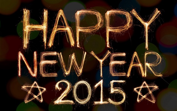 Обои Happy New Year 2015, золотые фейерверки, звезды