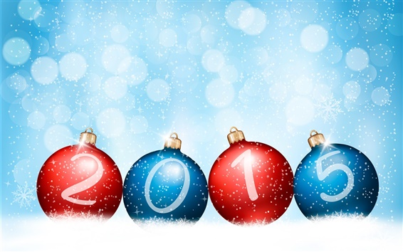 Wallpaper Happy New Year 2015, red blue balls