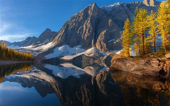 Papéis de Parede Kootenay, Canadá, céu, montanhas, lago, árvores, reflexão, outono