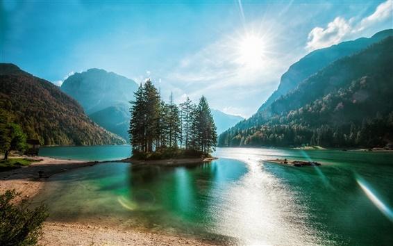 Обои Озеро, горы, лес, деревья, остров