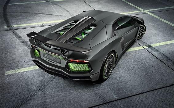 Обои Lamborghini Aventador LP700-4 черный суперкар вид сзади