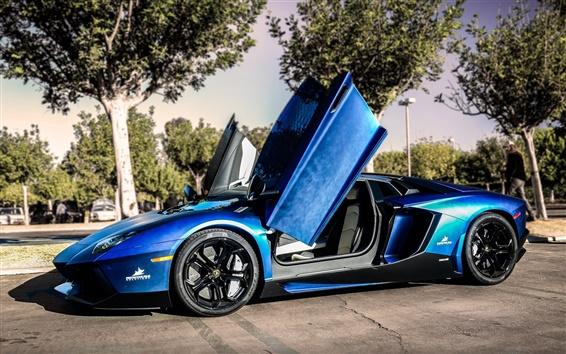 Обои Lamborghini Aventador синий суперкар, улица, деревья