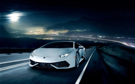 Papéis de Parede Lamborghini LP610-4 Huracan branco supercar, estrada, noite