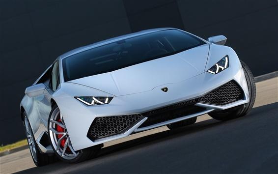 Fond d'écran Lamborghini Huracan supercar vue de face, les lumières