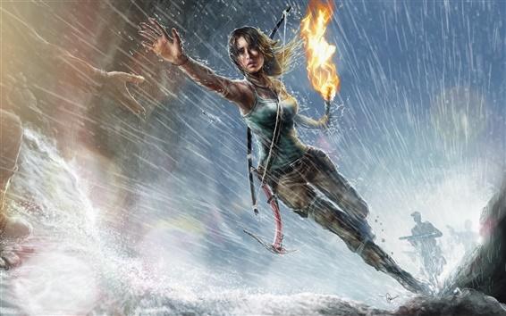 Fondos de pantalla Lara Croft, Tomb Raider, juego de PC, chica, lluvia