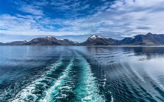 Wallpaper Lofoten, Norway, sea, winter, blue, clouds