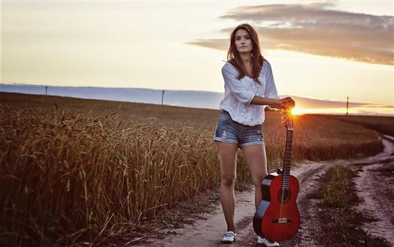 Wallpaper Long hair girl, guitar, sunset, fields