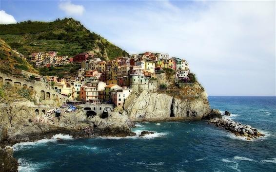 Fondos de pantalla Manarola, Cinque Terre, Italia, Mar de Liguria, rocas, casas, costa