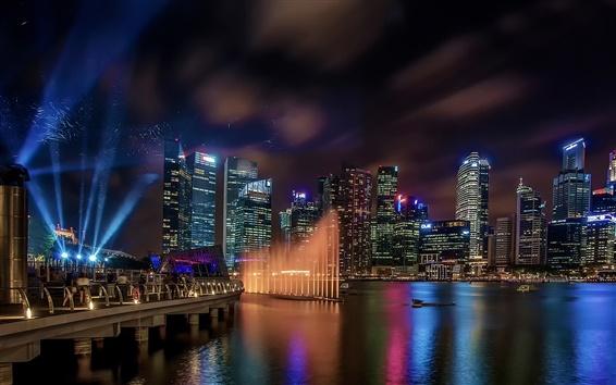 Wallpaper Marina Bay Sands, Singapore, buildings, lights