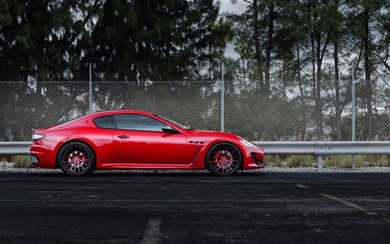 Wallpaper Maserati GranTurismo red supercar side view