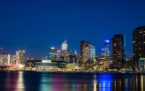 Wallpaper Melbourne, Victoria, Australia, city, night, skyscrapers, lights