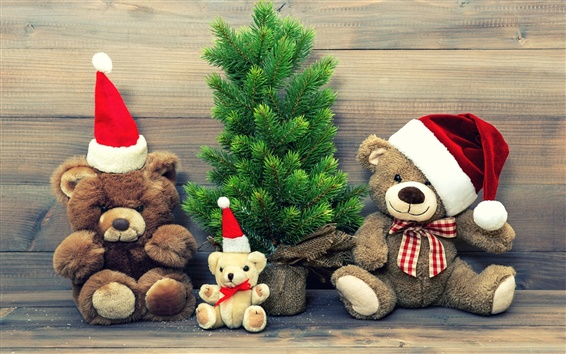 Wallpaper Merry Christmas, hat, decoration, teddy bear