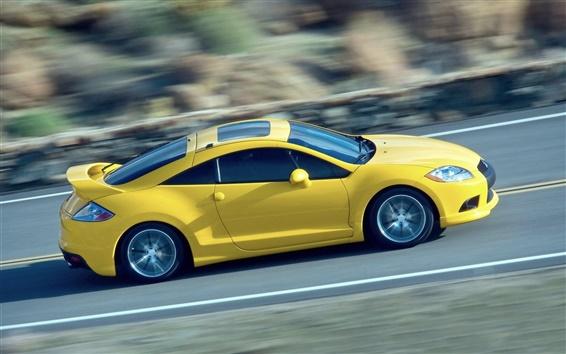 Wallpaper Mitsubishi yellow supercar, speed, road