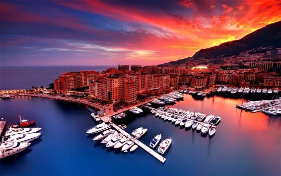 Wallpaper Monaco, sunset, city, house, bay, boats