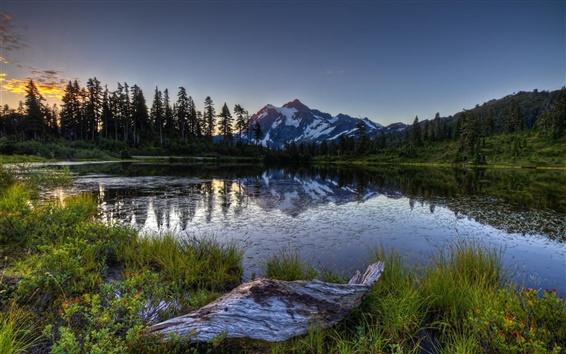 Обои Утро, озеро, горы, лес, восход солнца