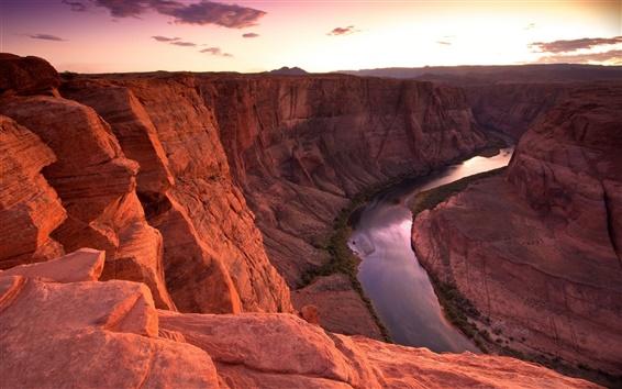 Fond d'écran Montagne, rivière, canyon, pierres rouges