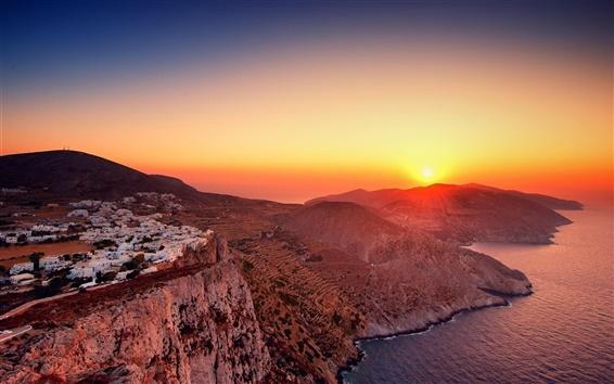 Fond d'écran Montagnes, maisons, le lever du soleil, la mer, la Grèce