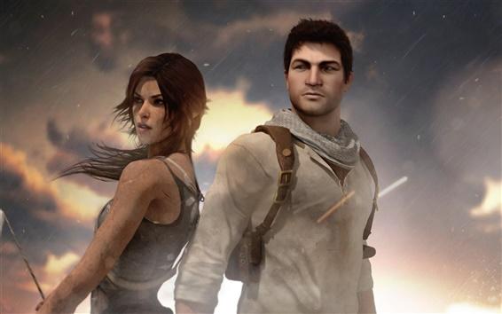 Обои Натан Дрейк, Uncharted, Tomb Raider, Лара Крофт