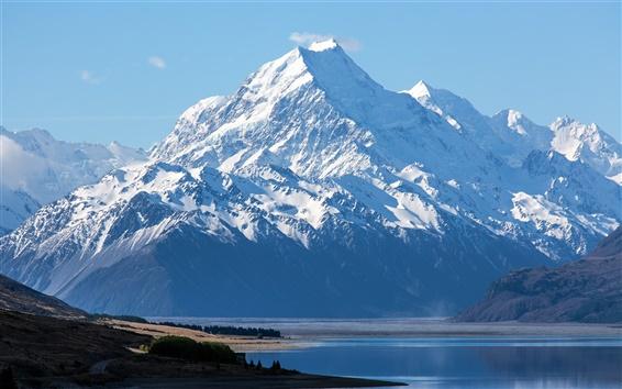 Fond d'écran Nouvelle-Zélande, le Mont Cook, le parc national Aoraki, ciel bleu