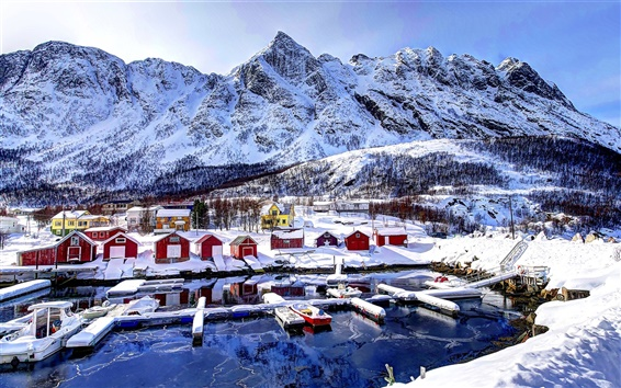 Wallpaper Norway, bay, mountains, houses, sky, clouds, snow, winter