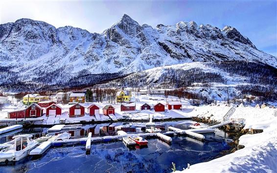 Обои Норвегия, залив, горы, дома, небо, облака, снег, зима
