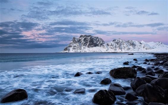 Wallpaper Norway, sea, mountains, rocks, winter