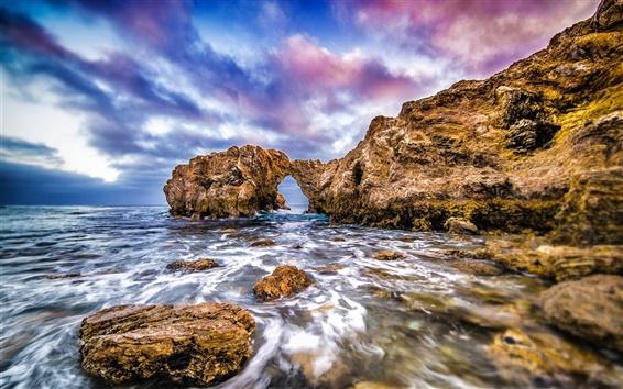 Обои Океан, море, скалы, арка, побережье, облака