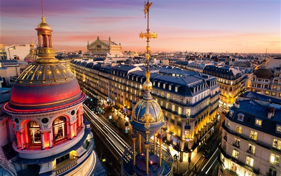 Wallpaper Paris, France, the Grand Opera, buildings, city, lights, night